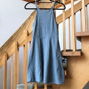 Grey Ribbed Fit and Flare Dress